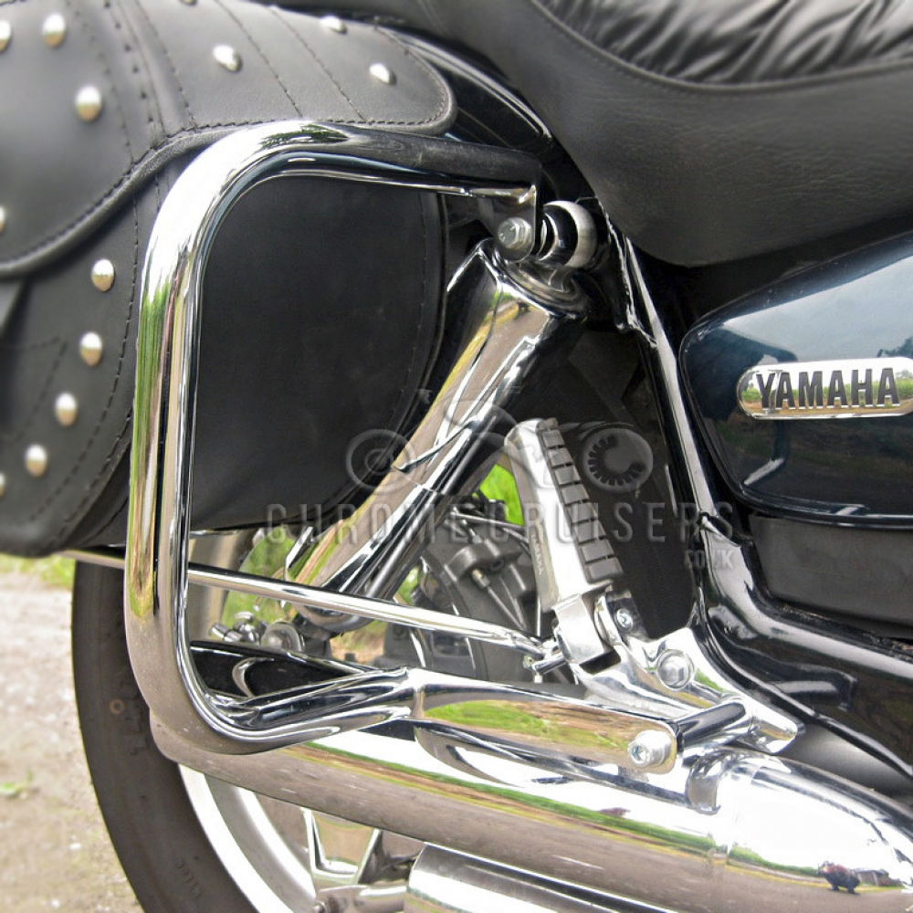 Yamaha xv750 xv1100 virago chrome rear saddlebag guard for Yamaha virago 1100 saddlebags